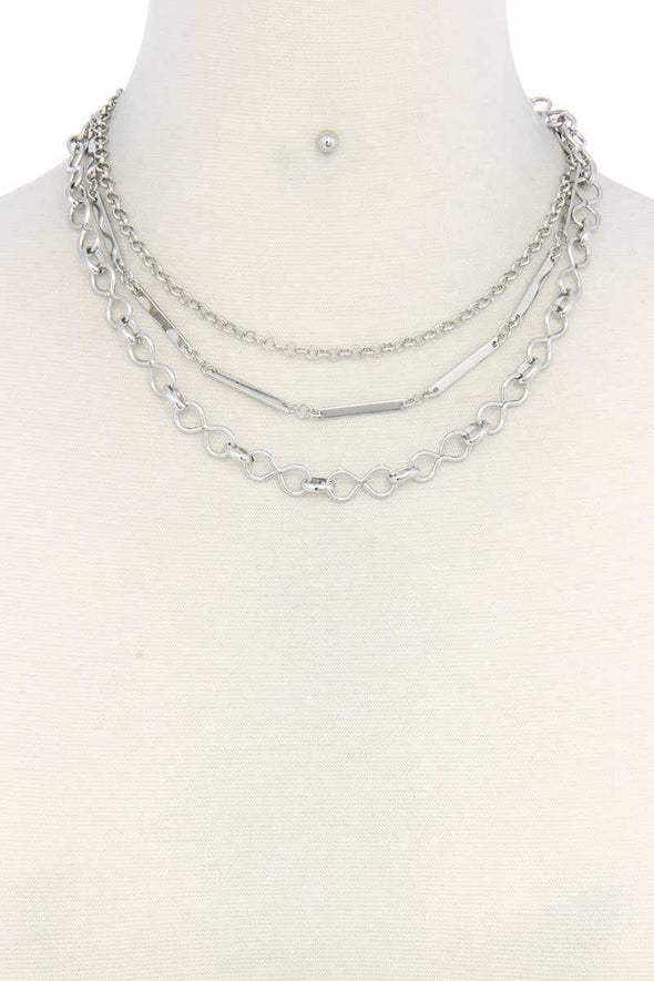 Metal Chain Layered Necklace - Babe Shoppe