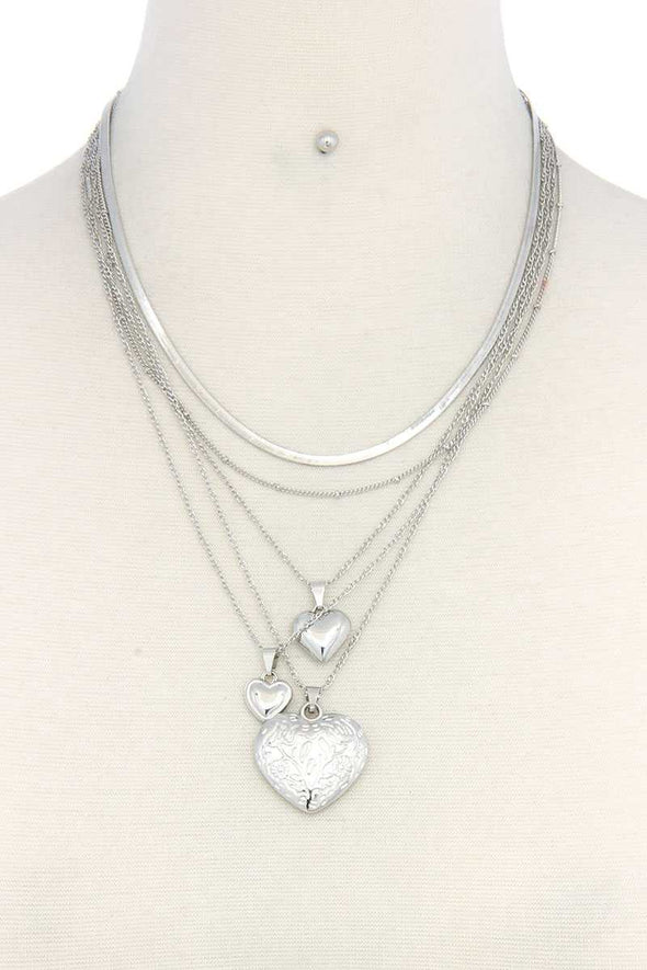 Heart Charm Layered Metal Necklace - Babe Shoppe