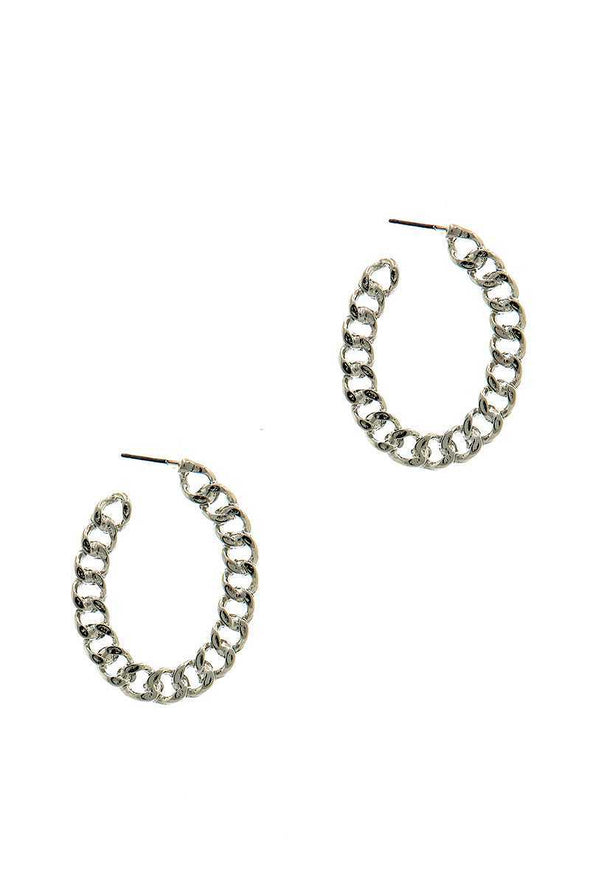 Modern Fashion Open Chain Hoop Earring - Sassy Gal Fashion