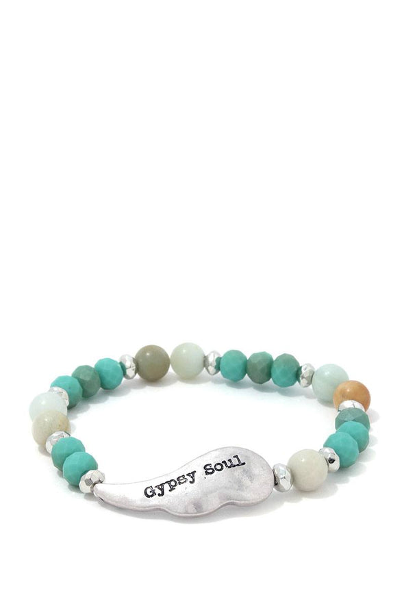 Gypsy Soul Wing Beaded Stretch Bracelet - Babe Shoppe
