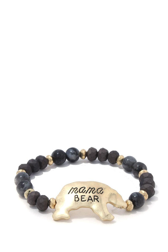 Mama Bear Beaded Stretch Bracelet - Babe Shoppe