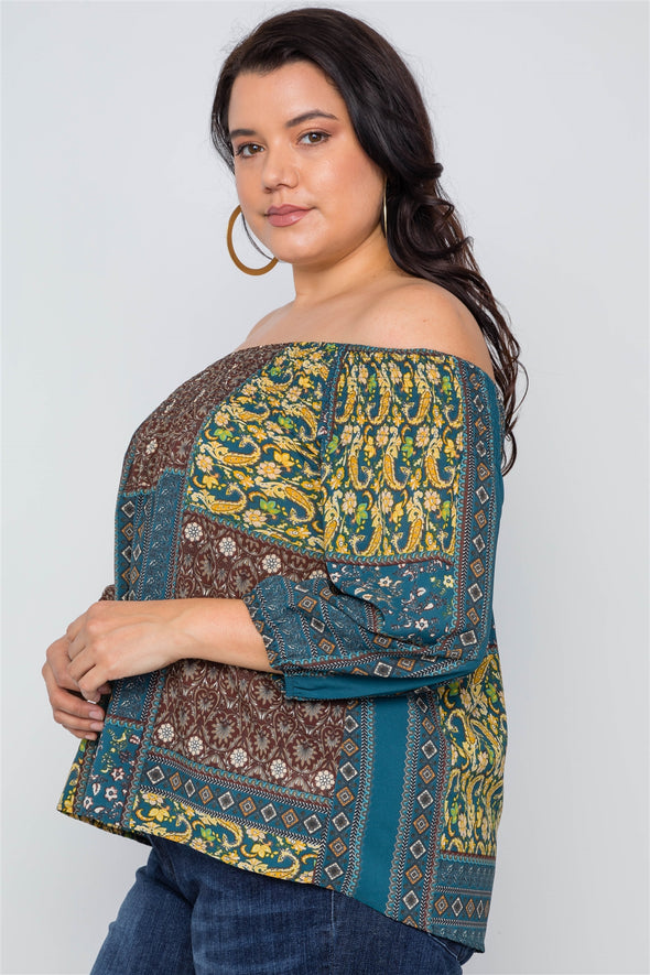 Plus Size Off-the-shoulder Multi Print Top - Babe Shoppe