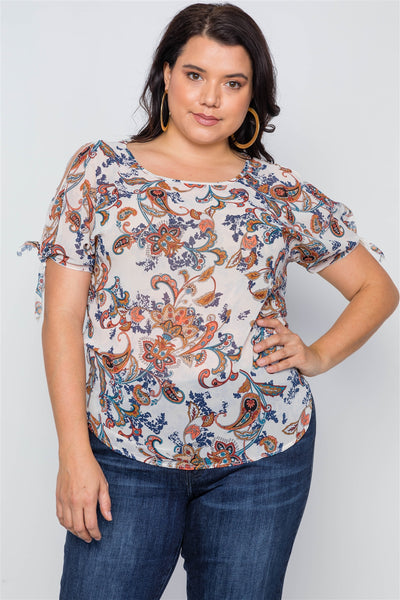 Plus Size Multi Self Tie Sleeves Floral Chiffon Top