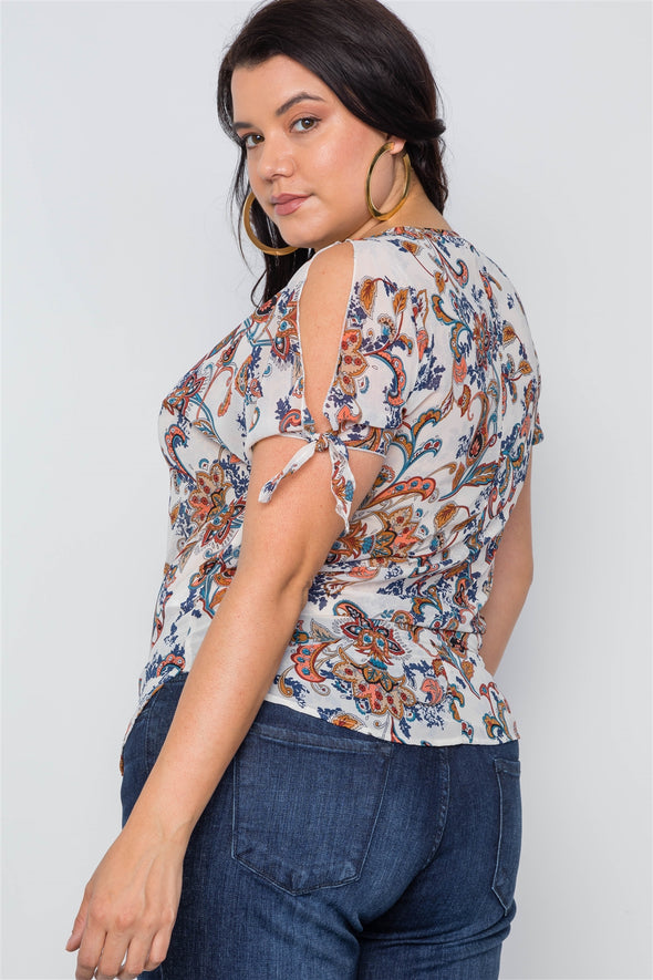 Plus Size Multi Self Tie Sleeves Floral Chiffon Top - Babe Shoppe