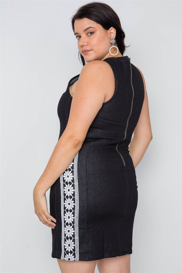 Plus Size Black Crochet Detail Denim Mini Dress - Babe Shoppe
