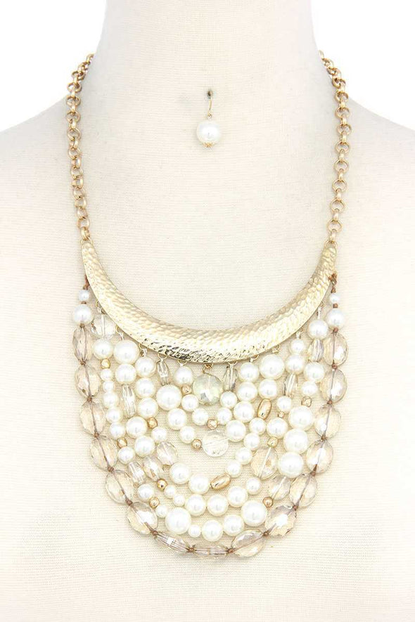 Curve Metal Bar Beaded Bib Necklace - Babe Shoppe
