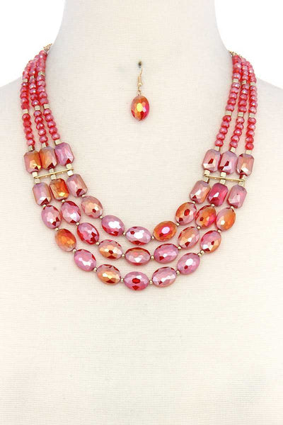 Oval Bead Multi Strand Necklace