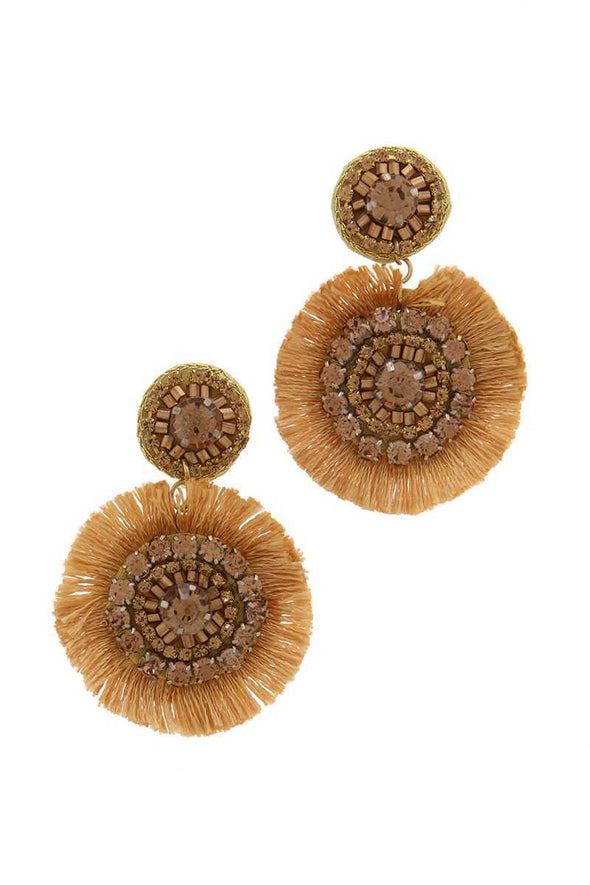 Double Circle Tassel Post Drop Earring - Babe Shoppe