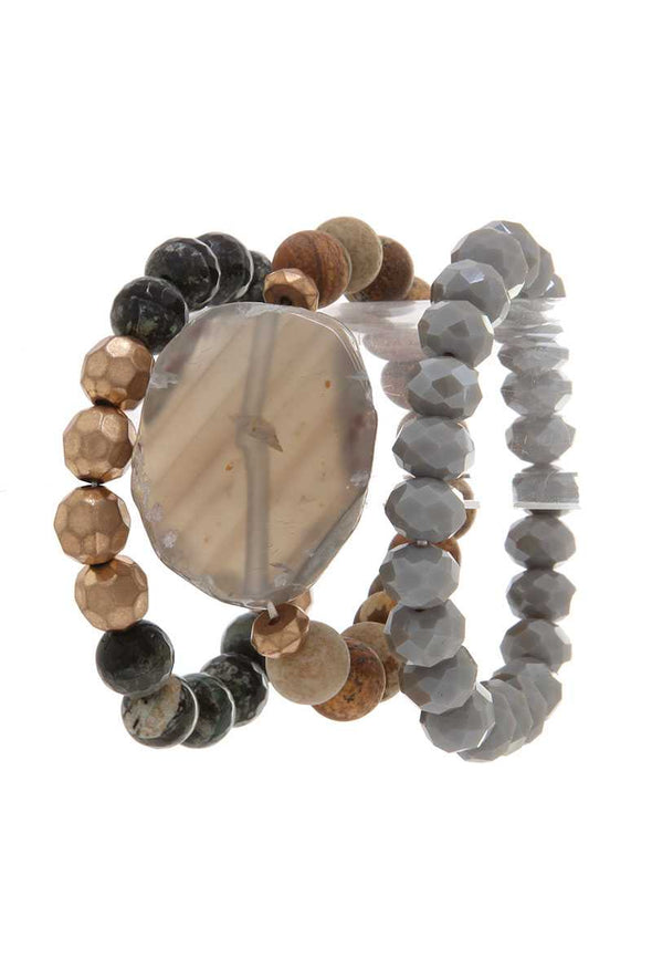 Natural Stone Beaded Stretch Bracelet - Babe Shoppe