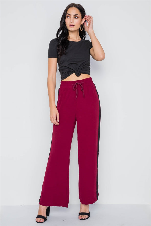Contrast Trim Side Slit Wide Leg Casual Pants - Babe Shoppe