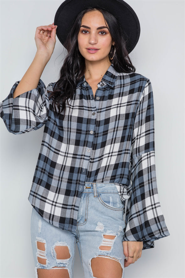 blue Plaid Button Down Bell Sleeve Top - Babe Shoppe