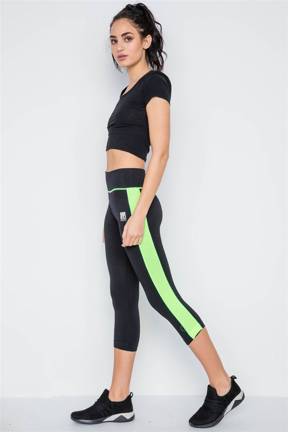Contrast Stripe Active Sporty Leggings - Sassy Gal Fashion