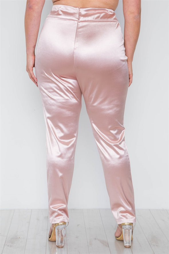 Plus Size Rose Two Piece Cardigan Satin Pants Set - Babe Shoppe