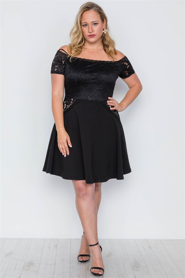 Plus Size Off-the-shoulder Skater Mini Dress - Babe Shoppe