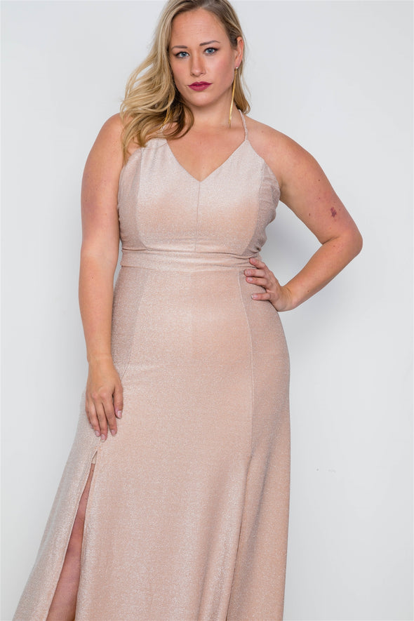 Plus Size Nude Front Slits Cami Evening Maxi Dress - Babe Shoppe
