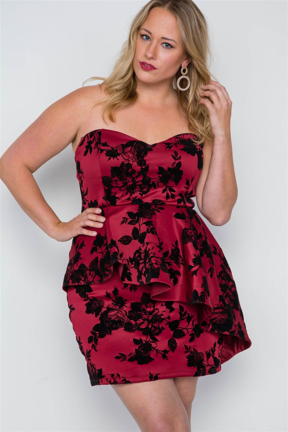 Plus Size Strapless Floral Sweetheart Mini Dress - Babe Shoppe