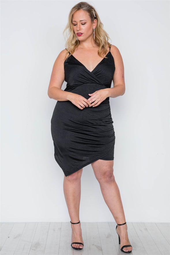Plus Size Black Cami Surplice Bodycon Mini Dress - Babe Shoppe