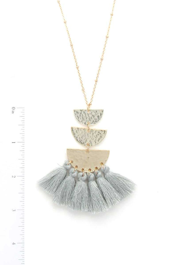 Hammered Metal Half Circle Tassel Pendant Necklace - Babe Shoppe