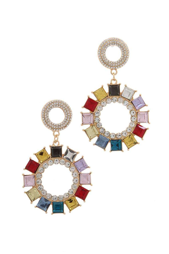 Rhinestone Double Circle Link Post Drop Earring - Babe Shoppe