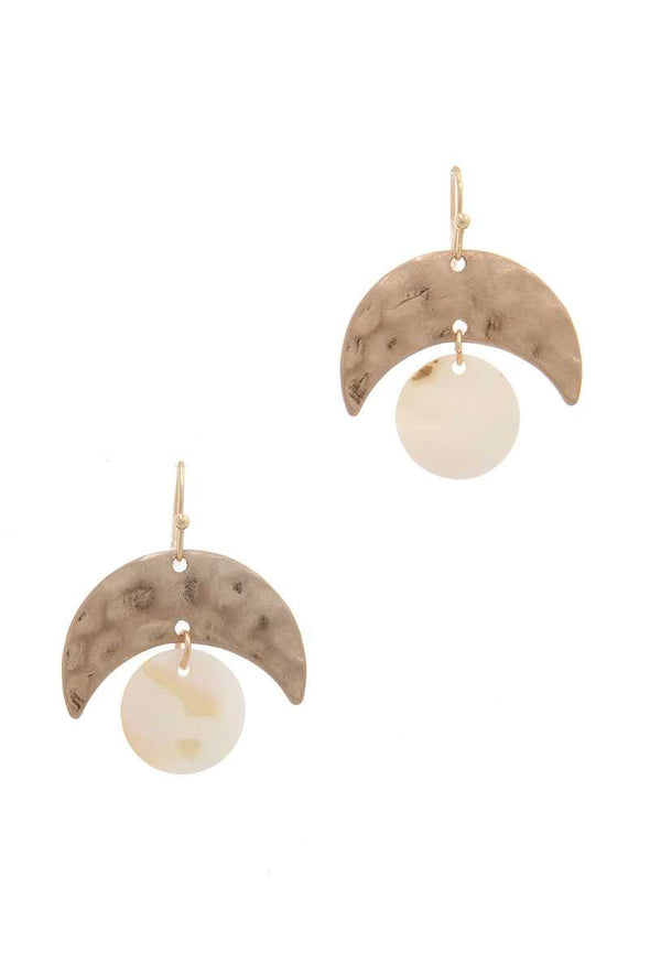 Hammered Metal Abalone Circle Drop Earring - Babe Shoppe