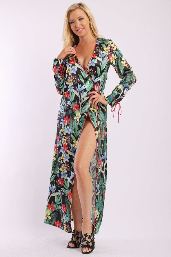 Floral Print, Wrapped, Kimono Style, Satin Dress With Long Sleeves, High Front Slit And Decorative Trimming - Babe Shoppe