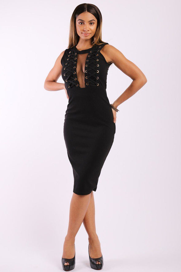 Solid, Sleeveless Midi Dress With Round Neck, Front Mesh Panel, Decorative Lace Up Design And A Back Zipper - Babe Shoppe
