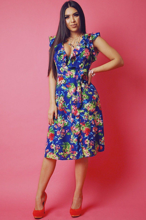 Floral Print, Sleeveless Wrapped Dress With V Neckline And Ruffled Trim - Babe Shoppe