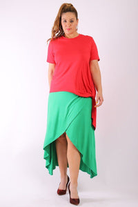 Solid, Short Sleeve Tee Top With Round Neck, Hilo Hemline, Gathered Side Detail And A Long Body Back Tail