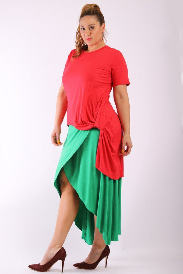 Solid, Short Sleeve Tee Top With Round Neck, Hilo Hemline, Gathered Side Detail And A Long Body Back Tail - Babe Shoppe
