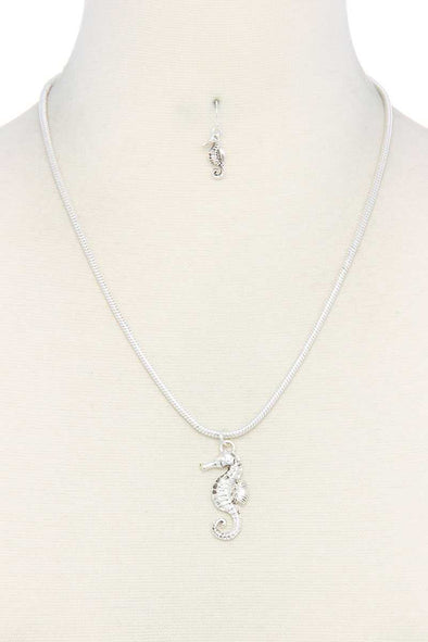 Sea Horse Charm Metal Necklace
