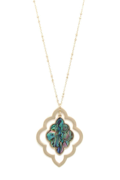 Double Moroccan Shape Pendant Necklace