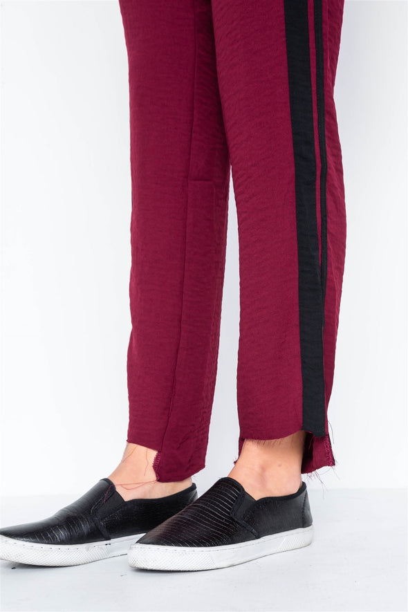 Wine Contrast Trim Raw Hem Casual Sporty Pants - Babe Shoppe