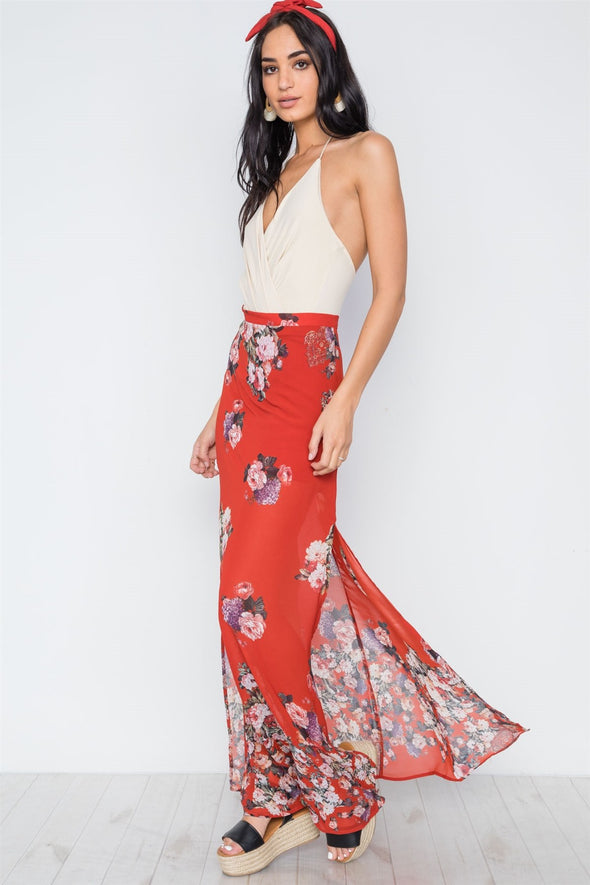 Red Multi Floral Print Side Slits High-waist Maxi Skirt - Babe Shoppe