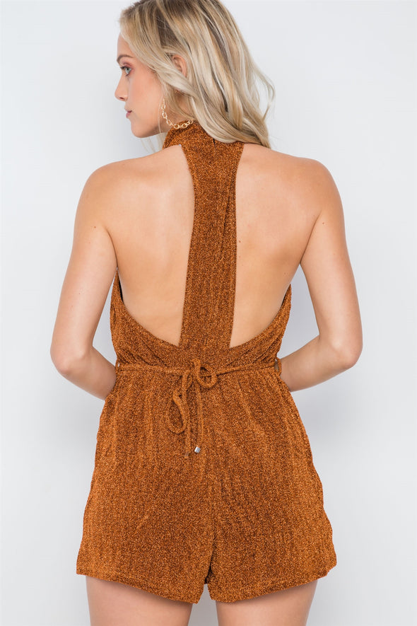Mock Neck Cami Evening Romper - Babe Shoppe