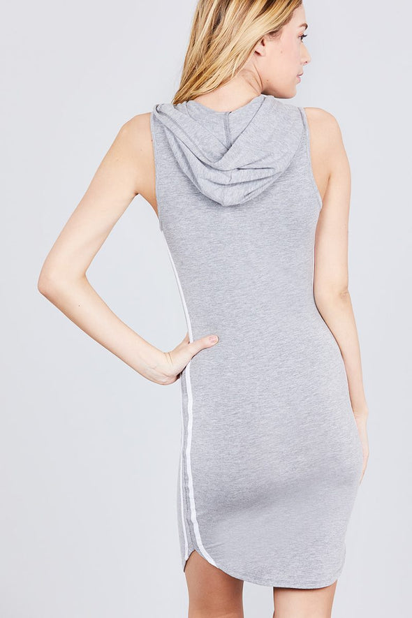 Sleeveless W/side Stripe Drawstring Hoodie Cotton Rayon Spandex Mini Dress - Babe Shoppe