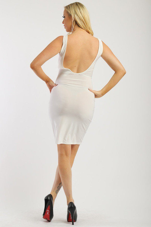 Solid Sleeveless Dress With Scoop Neck, Low Back And Front Cutout - Babe Shoppe
