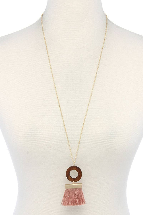 Wooden Circle Tassel Pendant Necklace - Babe Shoppe
