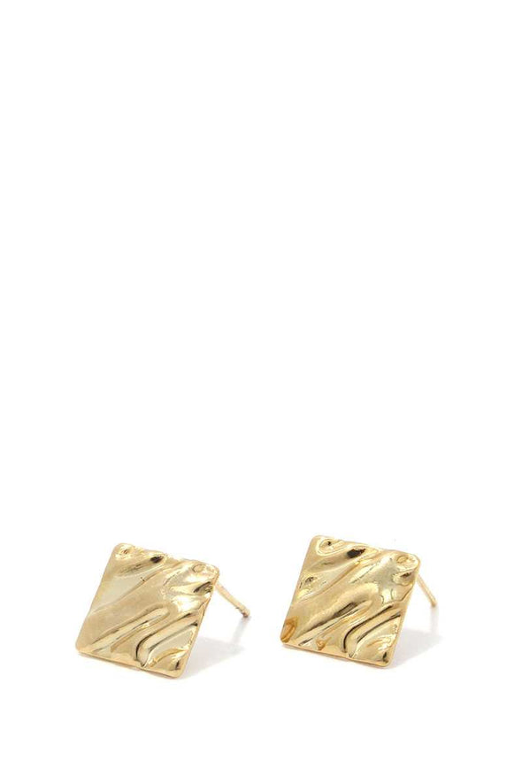 Hammered Rhombus Shape Stud Earring - Babe Shoppe