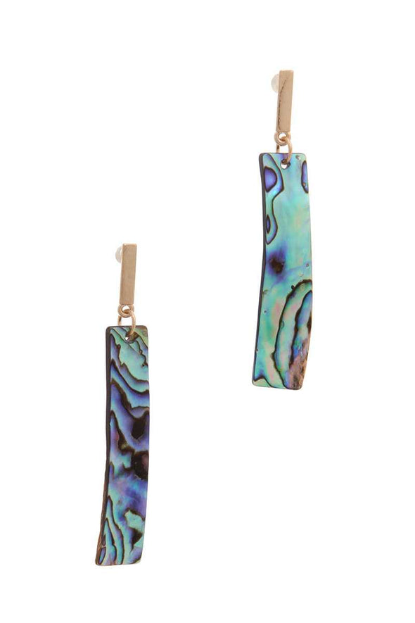 Abalone Curve Bar Drop Earring - Babe Shoppe