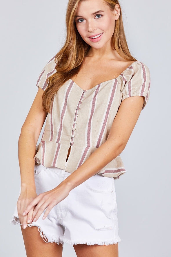 Short Sleeve Button Down Ruffle Hem Print Linen Woven Top - Babe Shoppe