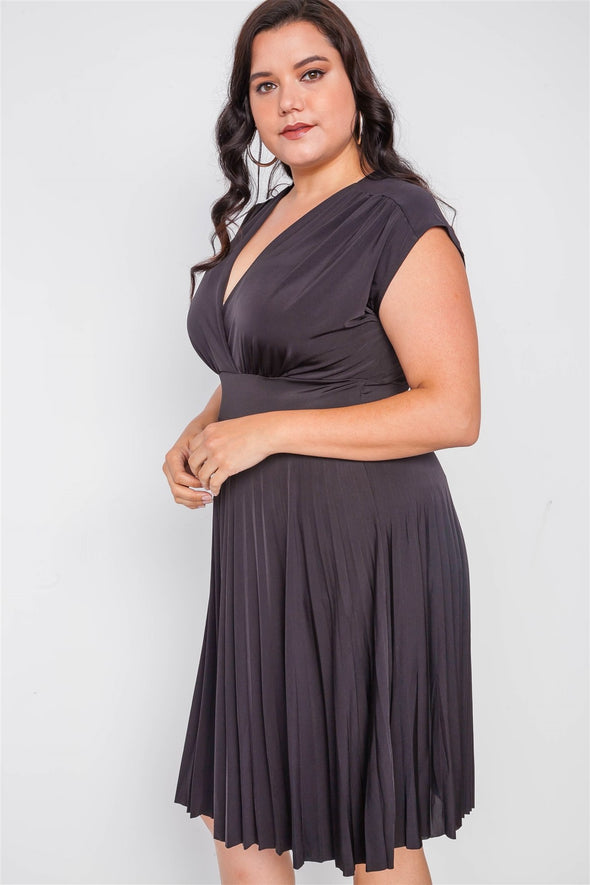 Plus Size  Pleat Accordion Fit & Flair Dress - Babe Shoppe