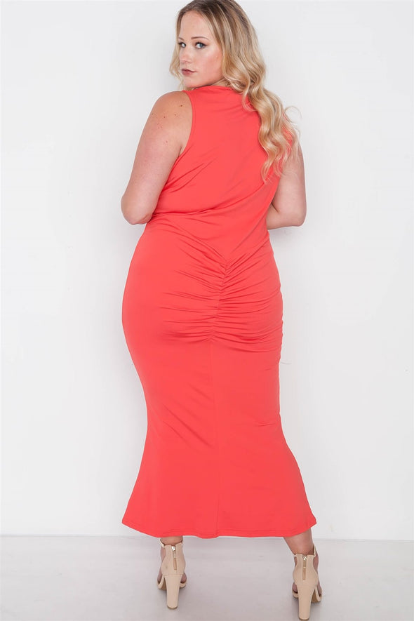 Plus Size Red Deep V-neck Strap Detail Maxi Dress - Babe Shoppe