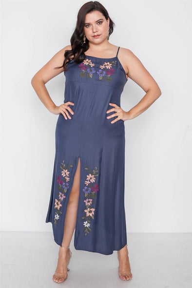 Plus Size Navy Cami Floral Embroidery Boho Maxi Dress - Babe Shoppe
