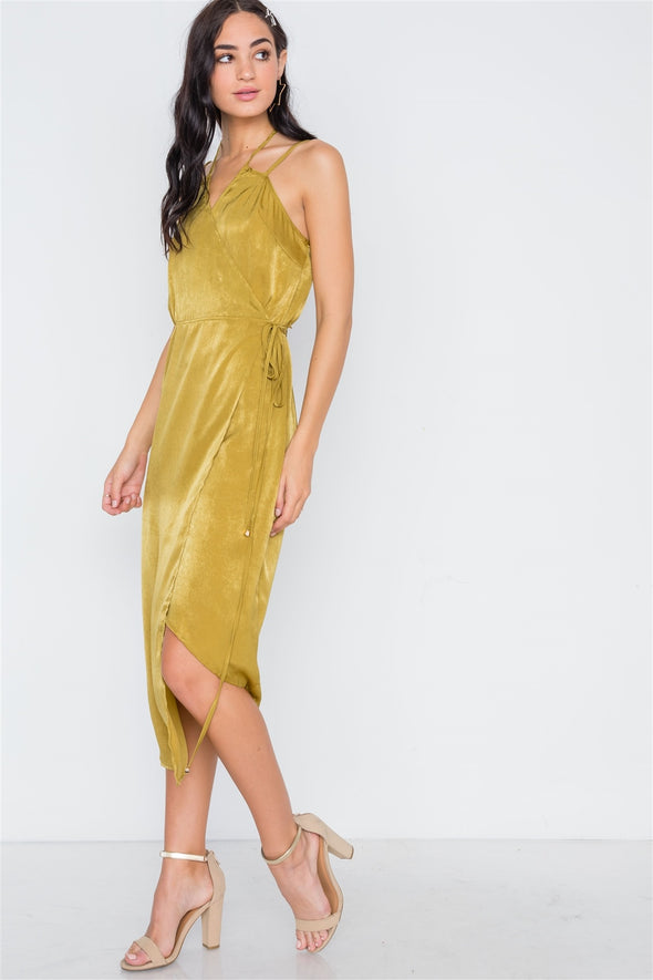 Mustard Asymmetrical Hem Cami Wrap Dress - Babe Shoppe