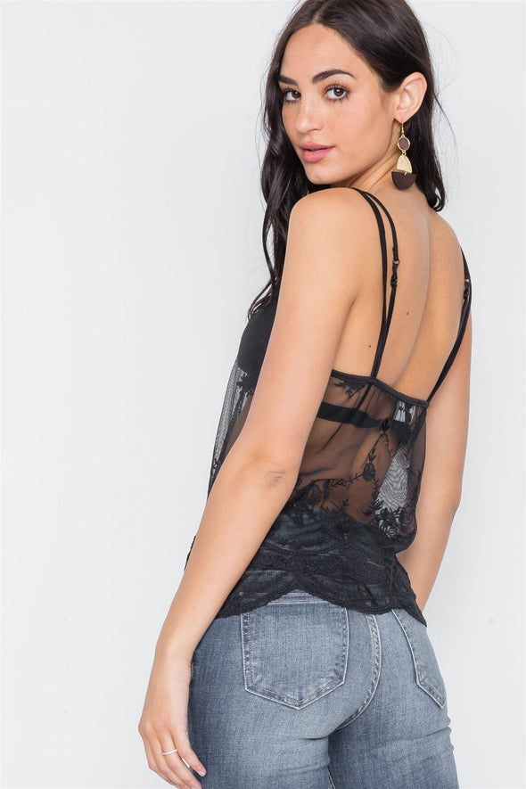 Black Sheer Embroidery Cami Top