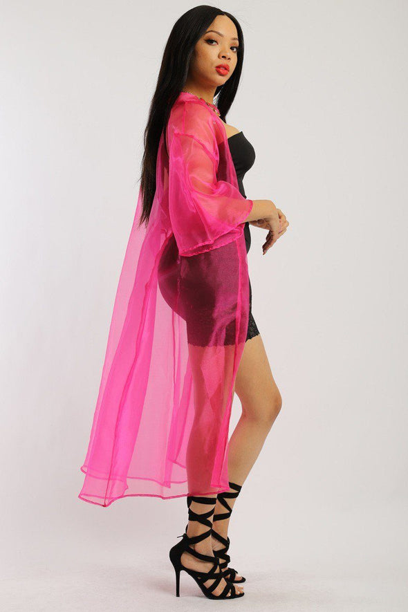 Solid, Organza Chiffon Cardigan With Open Front, Kimono - Babe Shoppe