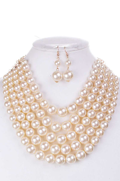 Color Block Pearl Chunky Necklace And Earring Set