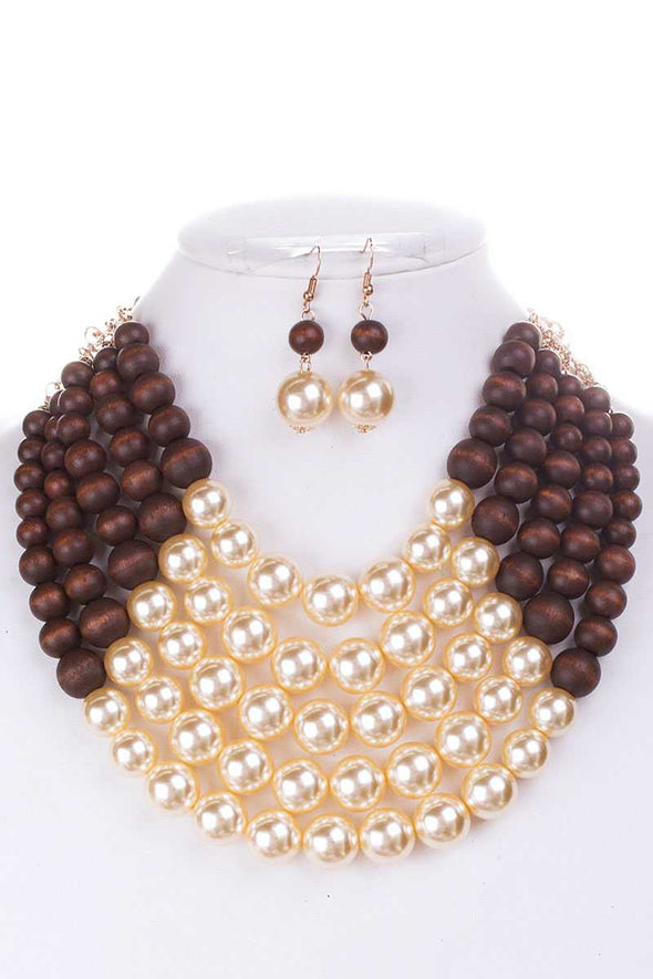 Color Block Pearl Chunky Necklace And Earring Set - Babe Shoppe