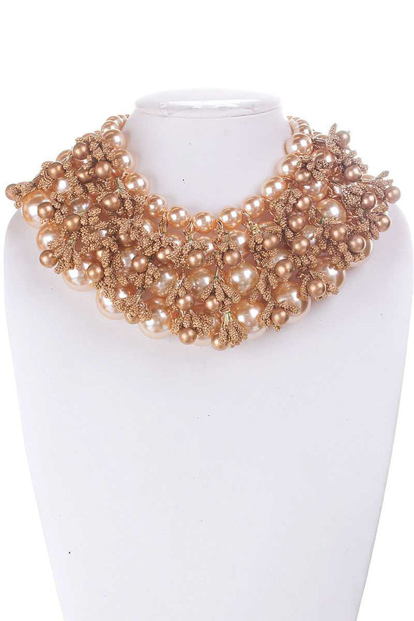 Pearl And Metallic Beads Chunky Necklace - Babe Shoppe