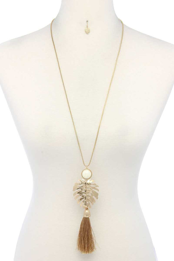 Tropical Leaf Pendant Tassel Necklace - Babe Shoppe